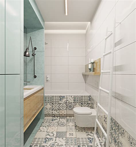 gray and teal bathroom two muted tone exposed brick pads for young families