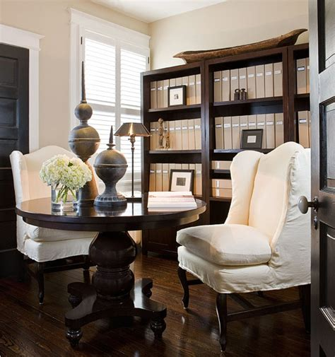 beige walls traditional den library office benjamin