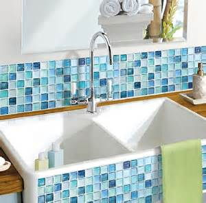 kitchen wall decor stickers wallpaper art tile nblue backsplash stone mosaic gray sticker bathroom