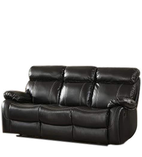 leather recliners india three seater pure leather recliner sofa in black colour by
