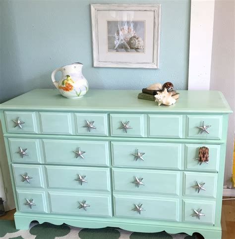 coastal shabby chic vintage dresser painted in