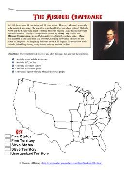 missouri compromise map activity missouri compromise map analysis by students of history tpt