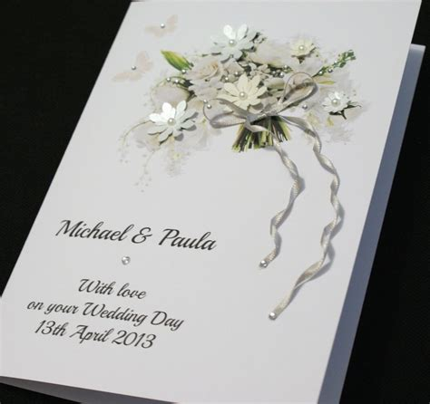 Personalised Wedding Cards Handmade - large handmade personalised beautiful bouquet