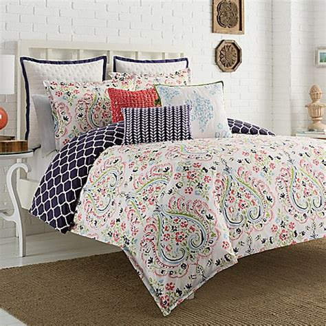 navy and coral bedding gabriella reversible comforter set in coral navy bed
