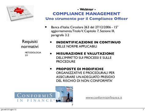 circolare 263 06 d italia webinar compliance management