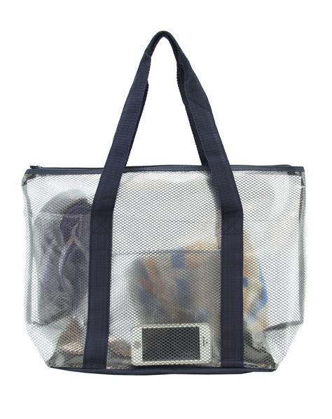 Pvc Tote Bag practical pvc and mesh tote bag navy