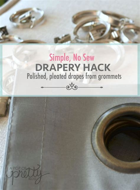 how to hang drapes with clip rings curtain hack tutorial no sew pleated drapes from