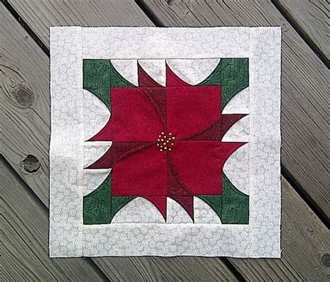 Poinsettia Quilt Block Pattern by Pieced Poinsettia Block