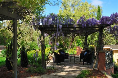Rustic Kitchen Decorating Ideas Mediterranean Patio And Wisteria Pergola Mediterranean Patio
