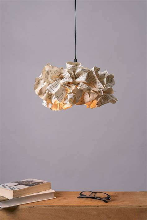 Paper Ceiling Light Book Paper L Up Cycled Paper Fixture Ceiling Light