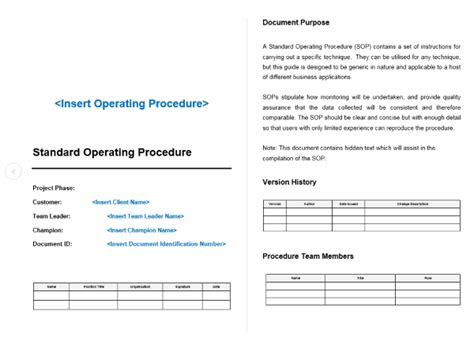 sales sop template standard operating procedure sop template project