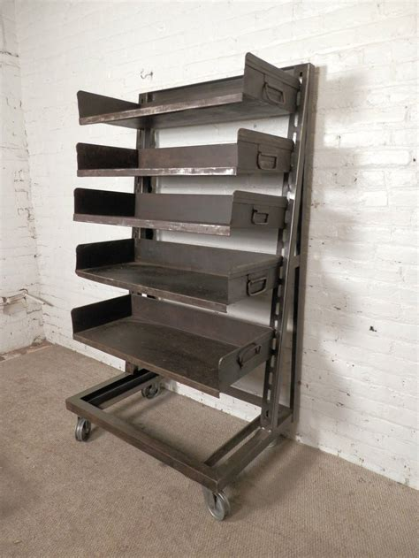 large industrial metal shelving unit at 1stdibs