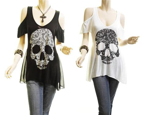 plus lace skull print cold shoulder jersey