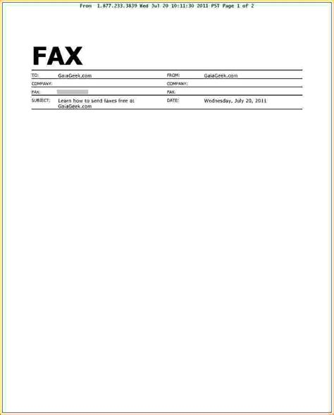 Fax Cover Letter Template by Doc Fax Cover Letter