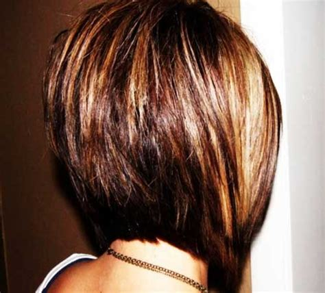 front and back views of chopped hair short stacked bob haircut back view