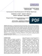 formulation  evaluation   herbal hand sanitizerpdf disinfectant infection