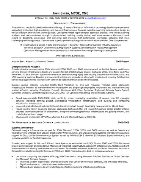 a resume template for a senior level it manager you can