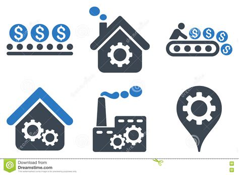 production symbols industrial production flat vector icons stock vector