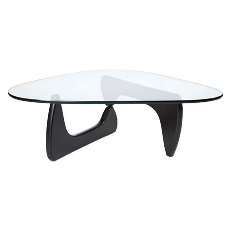 noguchi style triangle coffee table solid wood thick glass top ebay