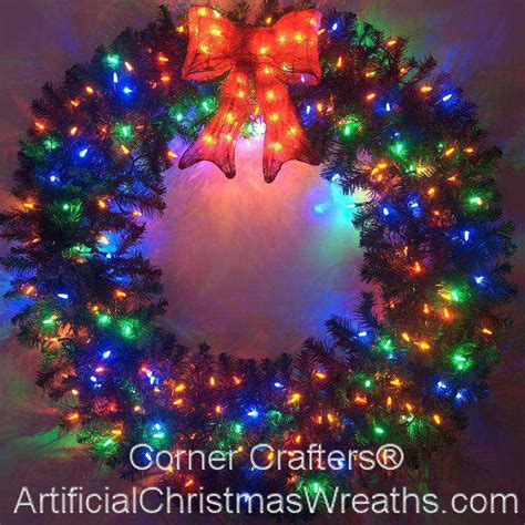 christmas wreath with led lights 48 inch deluxe color changing led lighted christmas wreath