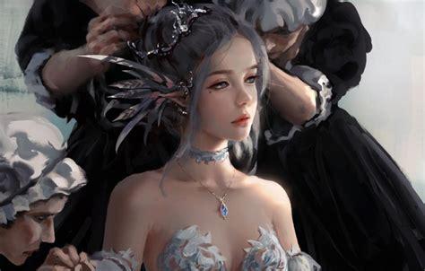 wallpaper girl fantasy game wet rain purple eyes face assasins creed digital