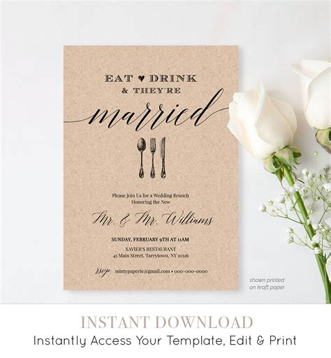 Post Wedding Brunch Invitation Template Post Wedding Brunch Invitation Template Printable Brunch