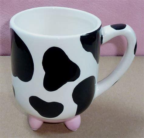 animal coffee mugs black white cow spot farm animal udder large ceramic
