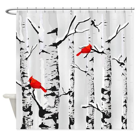 cardinal shower curtain winter birch trees and cardinals shower curtain by getyergoat