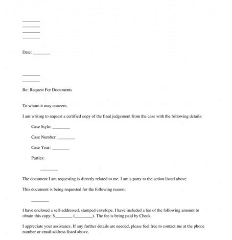letter request documents template word
