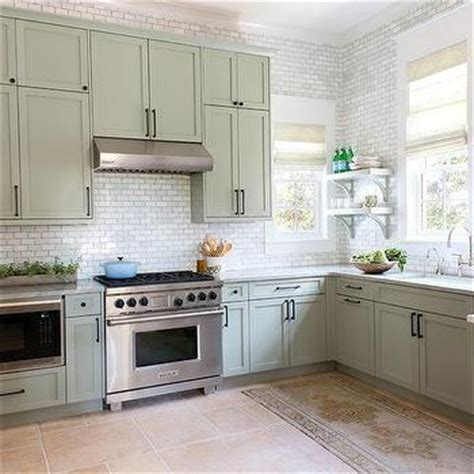 Gray Green Cabinets Cottage Kitchen Urban Grace | interior design inspiration photos by urban grace interiors