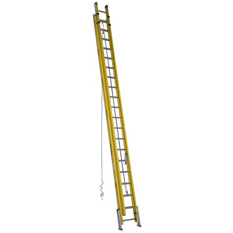 werner 40 ft fiberglass d rung leveling extension ladder
