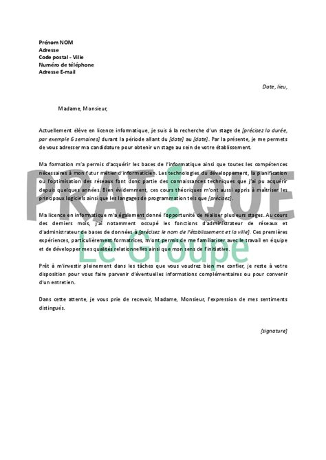 Stage Licence Lettre De Motivation Lettre De Motivation Pour Un Stage En Licence Informatique Pratique Fr