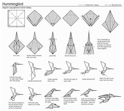 Origami Humming Bird - origami kolibri zelfmaakideeen