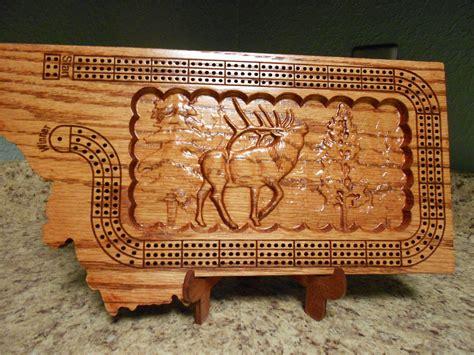 Handmade Cribbage Board - montana shaped handmade three track cribbage board with elk