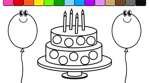 coloring pictures of birthday cakes and balloons learn colors for kids and color circle birthday cake