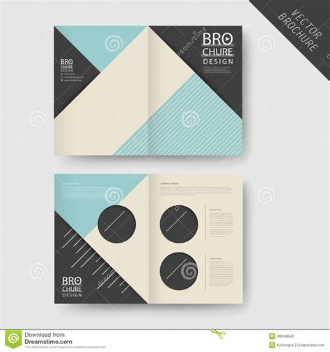 one fold brochure template modern geometric half fold brochure stock vector image