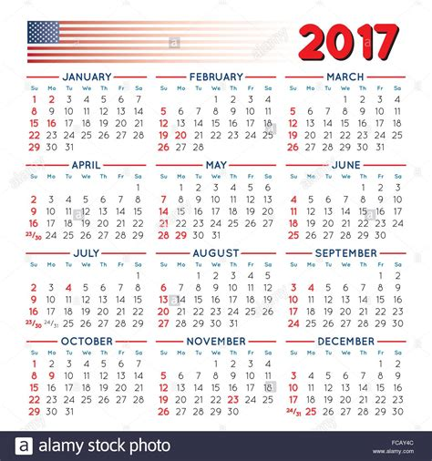 Calendar Of The Year 2017 2017 Squared Calendar With Usa Festive Days Year