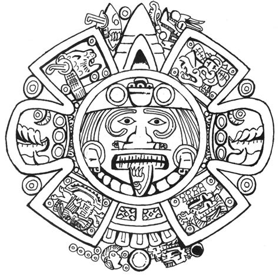 calendario para colorear calendario azteca para colorear dibujos aztecas coloring