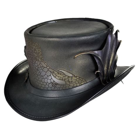 Top Hantshop n home draco leather top hat top hats