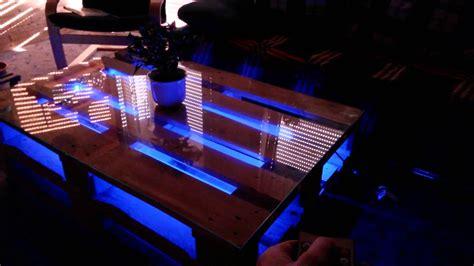 glasplatte beleuchten diy europaletten tisch mit led beleuchtung