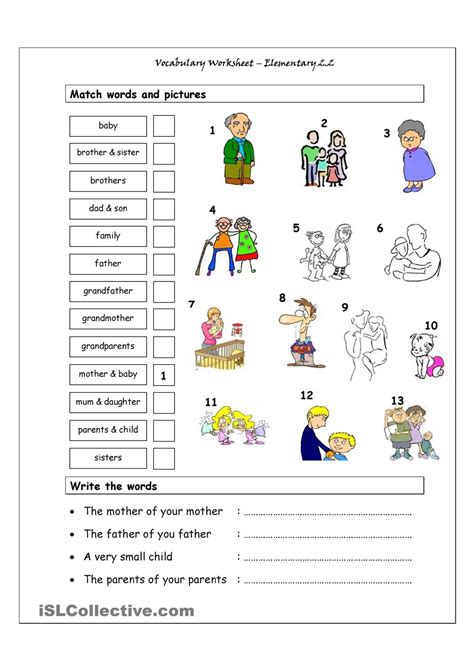 printable vocabulary activities vocabulary matching worksheet elementary 2 2 family