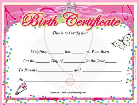 birth certificate template 34 free word pdf psd