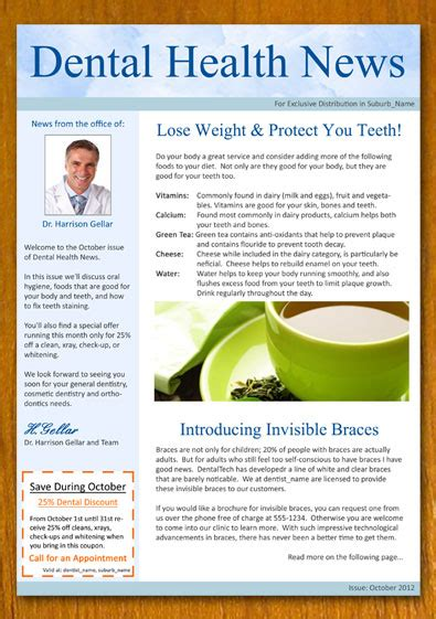 interactive newsletter templates dentist and dental newsletter template by danbradster on
