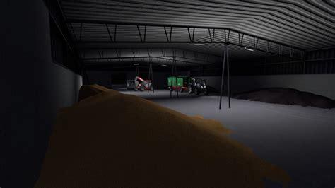 gdr grain store with lighting prefab v1 0 fs17 farming