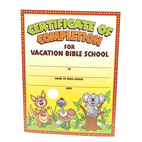 vbs certificate template 5 best images of printable vbs completion certificates