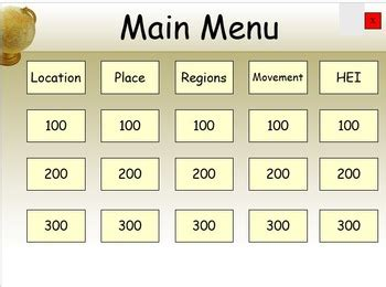 5 themes of geography jeopardy five themes of geography game show by mypaths teachers