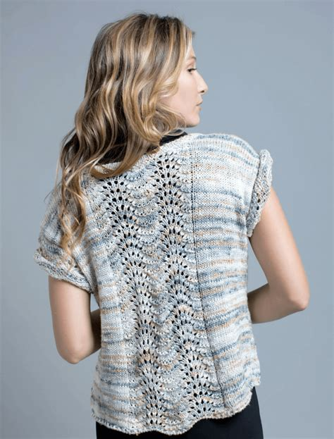Feather Pattern Top aqua feather and fan top free knitting pattern for knitting bee
