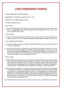 Sle Agreement Letter For Lending Money Loan Agreement Template Spearhead Elearning