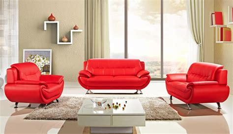 Italian Modern Bedrooms Sabina Red Leather Sofa Set
