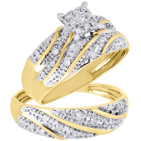 10k yellow gold trio set matching engagement ring